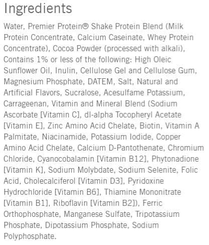 Premier protein ingredients