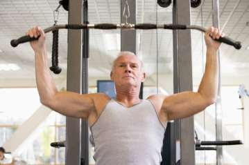 Older man working out