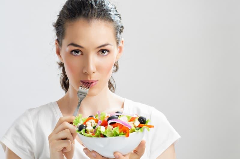 Eating a salad