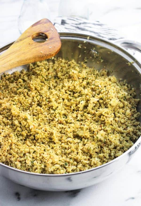 Parmesan Pesto Cauliflower Rice