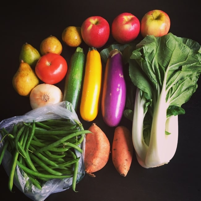 vegetables in CSA box