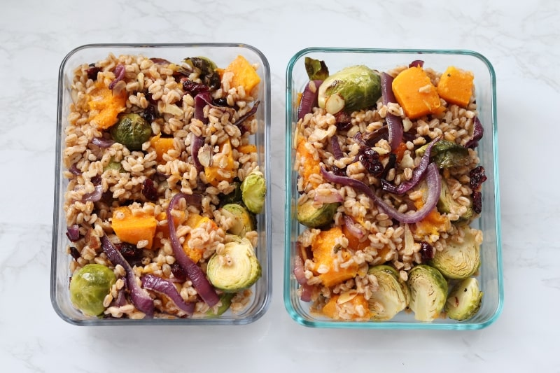 grain salad in containers