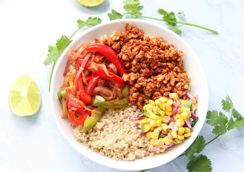 quinoa tempeh burrito bowls