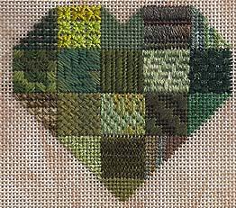 green sapphire heart stitch sampler