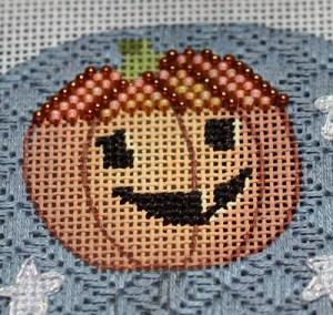 Beaded Pumpkin needlepoint using beaded brick stitch