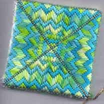 needlepoint ornament using overdyed silk from Threadworx