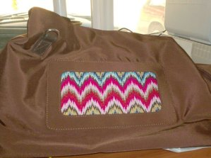 Lee Needle Arts tote bag with removable inserts, bargello designed and stitched by needlepoint expert janet m. perry