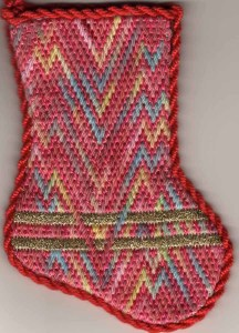interlaced bargello needlepoint, designed and stitched by needlepoint expert janet m.perry