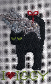 kathy schenkel black cat needlepoint canvas personalized as christmas ornament by needlepoint expert janet m. perry