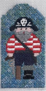 kathy schenkel pirate needlepoint stitched by needlepoint expert janet m perry, featuring dragonfly lotus threads