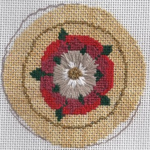 tudor rose needlepoint, rogue canvas