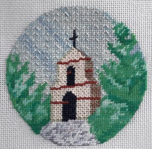 needlepoint California mission with sky stitched in Continental & overstitching