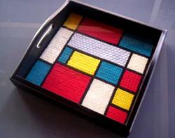 Mondrian-inspired needlepoint try from Ziva