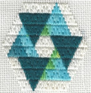 Circle trianglepoint needlepoint ornament