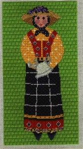 provencal lady with watering can needlepoint