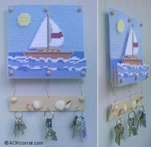 sailboat plastic canvas needlepoint key holder
