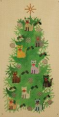 cat needlepoint Christmas tree canvas