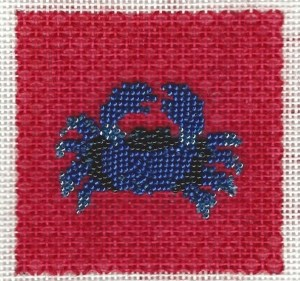 patty paints beaded needlepoint crab