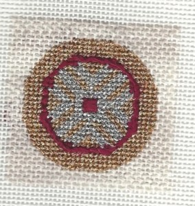 chinese needlepoint ornament, stitched with metallics