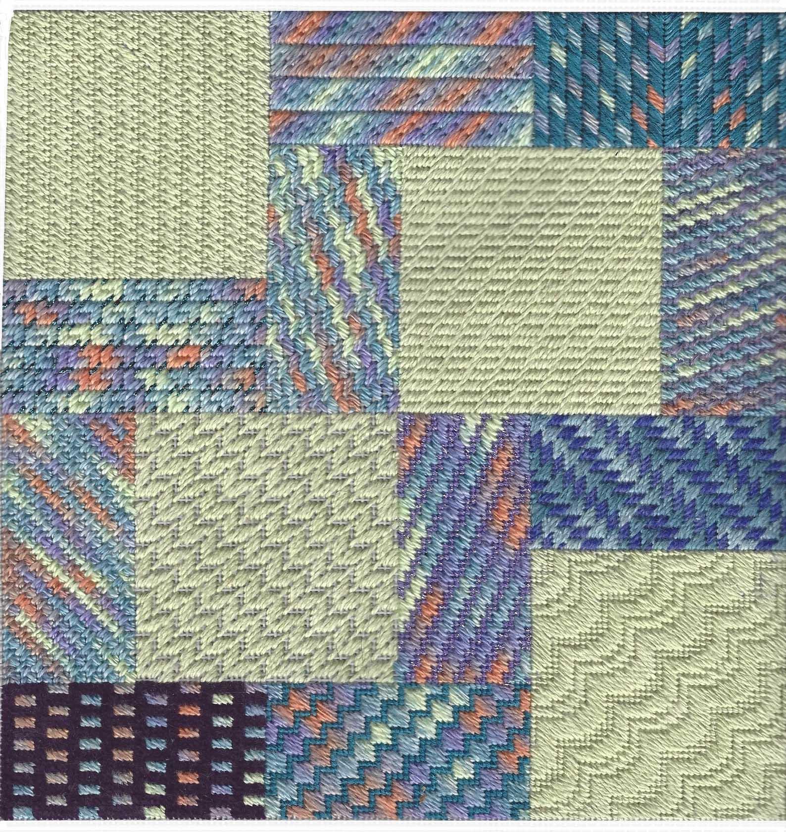 25 Diagonal Stitches needlepoint sampler