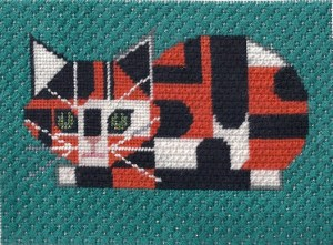 Charley harper calico cat needlepoint