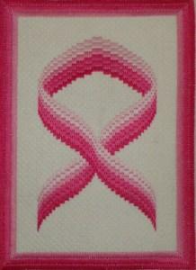 Pink Ribbon Bargello Needlepoint