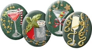 Christmas Cocktails Leigh Designs needlepoint