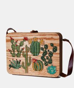 cactus cross stitch & wood bag