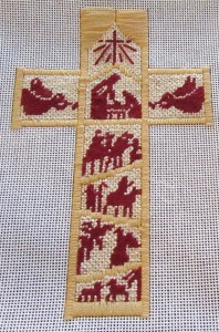 nativity needlepoint cross