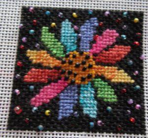 Mindy shaded daisy needlepoint