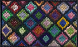 Stash-buster needlepoint adapted from crochet afghan