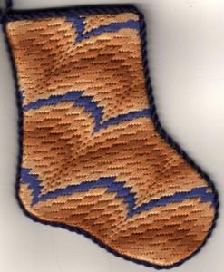 Diagonal Bargello mini-sock