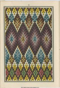 drawing of stitched Bargello pattern