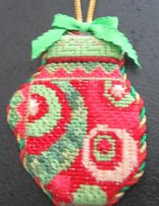Kelly Clark needlepoint mitten ornament