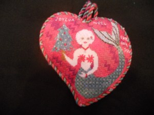 mermaid needlepoint ornament by Gail Sirna