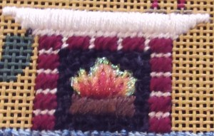 needlepoint fireplace & mantle