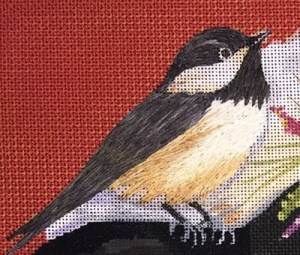 bird in thread painting with Silk Straw