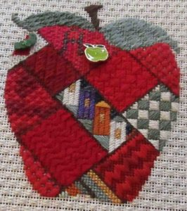 patchwork apple needlepoint