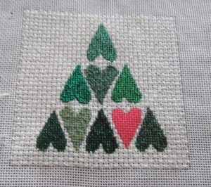 needlepoint heart tree stitched with metallics and silk ribbon