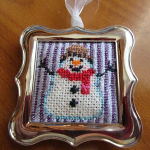 painted pony snowman needlepoint in design studio ornament frame
