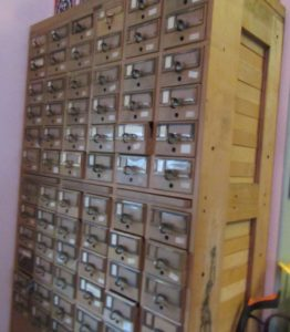 vintage card catalog stores needlepoint threads