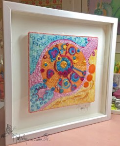 framed marble needlepoint by Kim Smith