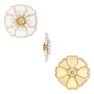gold & epoxy flower for needlepoint embellishment