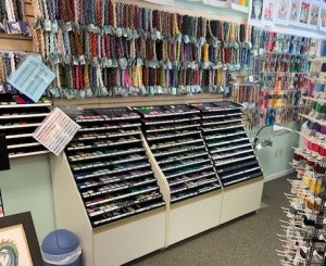 thread display at Homestead Needle Arts