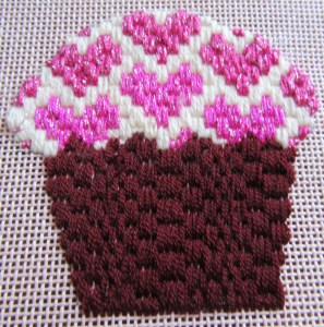 Red Velvet Needlepoint Cupcake with Bargello