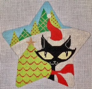 Eye Candy cat star needlepoint