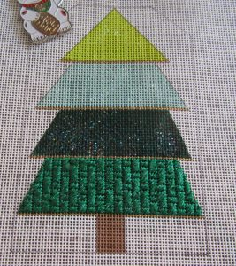 Bee's Knees striped Christmas tree needlepoint SAL, bottom stripe