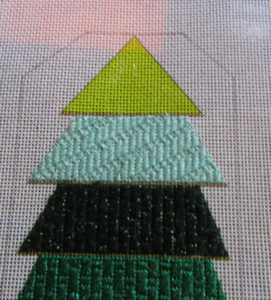 Striped Christmas tree needlepoint