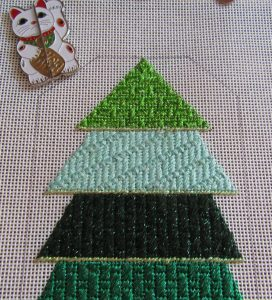 Bee's Knees needlepoint Christmas tree