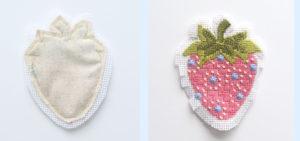 qfabric back sewn onto needlepoint